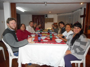 Gathered for dinner with leaders of the newly-formed Iglesia Cristiana Anabautista Menonita de Ecuador (Mennonite Anabaptist Christian Church of Ecuador)