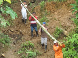 Carrying huarua logs for the bridge repair