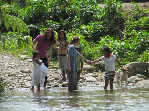 Meeting up with children from the village across the river