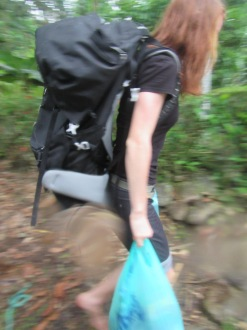 Carrying our luggage up the hill