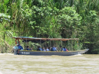 Traveling by boat to the Ahuano Butterfly Farm