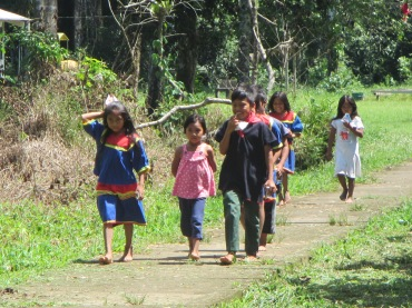 Village children returning from school