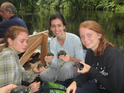 Time to release some of the juvenile turtles protected by the Cofan into the Zabalo River