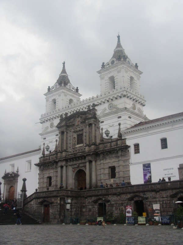 One of many churches in historic downtown Quito