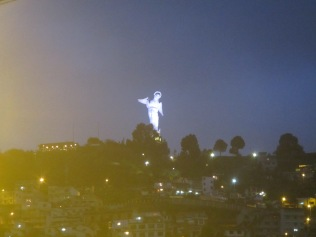 A statue of the Madonna sits atop Panecillo Hill